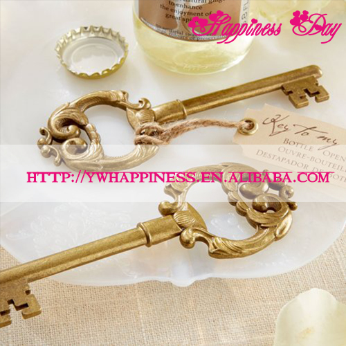 Key to My Heart Vintage Key Bottle Wine Opener Gold Wedding Favors and Gifts