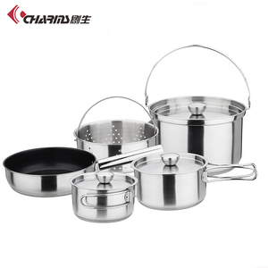 Outdoor Cookware Stainless Steel Camping Hiking Picnic Backpacking Cookware Pot Pan Camping Cooking Utensils Set