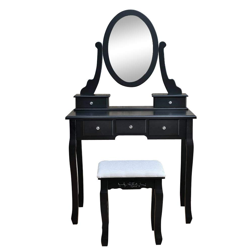 Get Quotations · Thxbyebye Bedroom Dressing Table, Vanity Table with  360°Rotation Oval Mirror 5 Drawers and - Cheap Vintage Dressing Table Mirror, Find Vintage Dressing Table