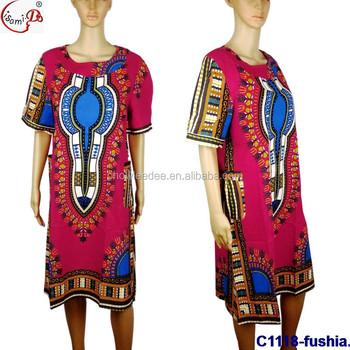 Fashion Style Nigerian Women Cotton Bazin Dress Size African Long