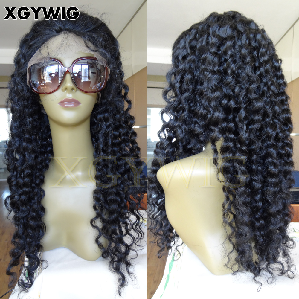 "Stock 8""-24"" cheap factory price 100% Indian virgin remy human hair Glueless African American Deep Curly Lace Front Wig"