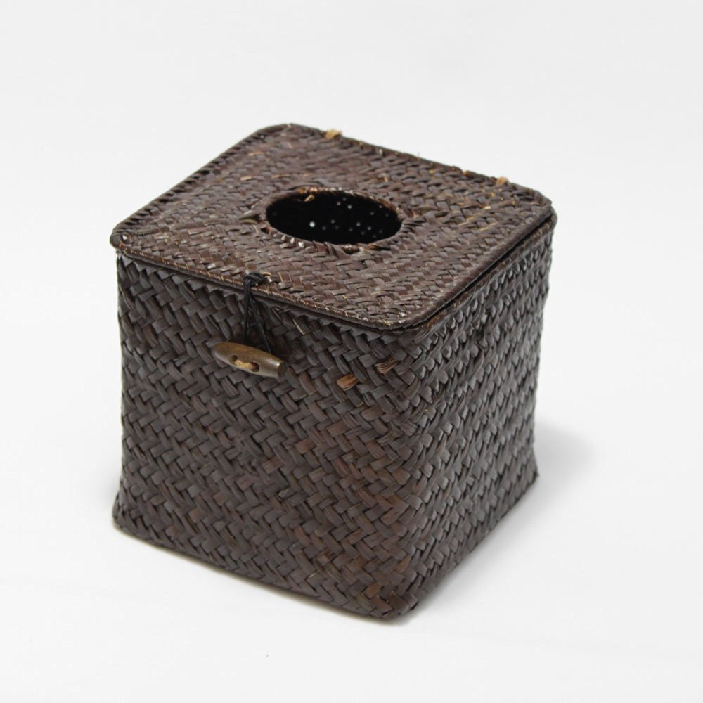 Brown homeloo Woven Seagrass Straw Square Tissue Box Cover Holder