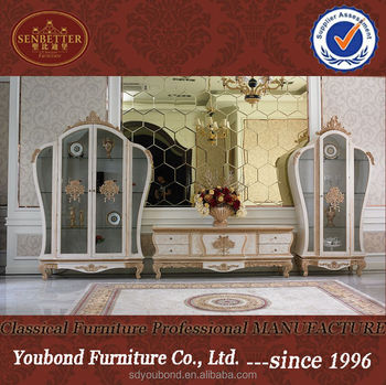 0057 Ivory Frech Style Living Room Cabinet Furniture,romantic Wooden Carved  Wine Cabinet