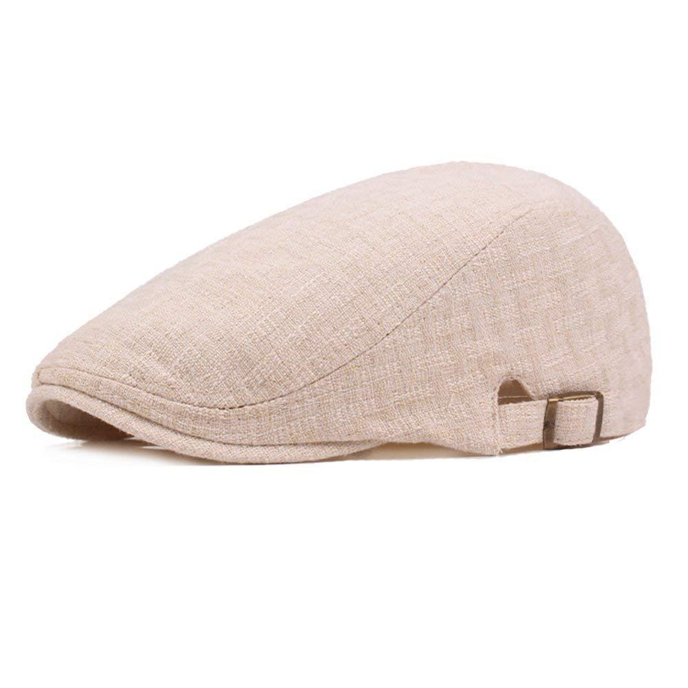 f5fdd9ae Get Quotations · Men Linen Cotton Golf Driving Beret Cabbie Hat Newsboy Flat  Ivy Sun Summer Cap