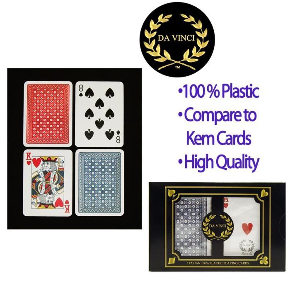 Da Vinci Neve, Italian 100% Plastic Playing Cards, 2-Deck Poker Size Set by Modiano, Regular Index