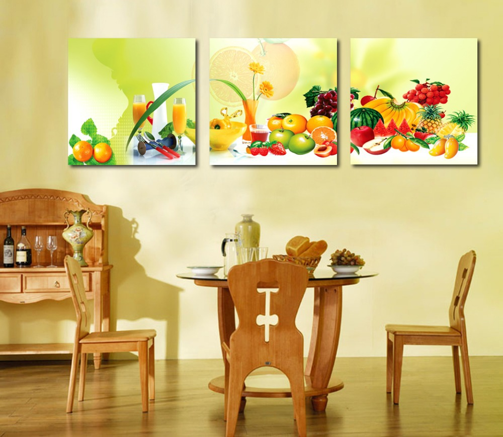 Dining Room Paintings: 3-piece-canvas-art-Home-decoration-wall-art-Painting-fruit