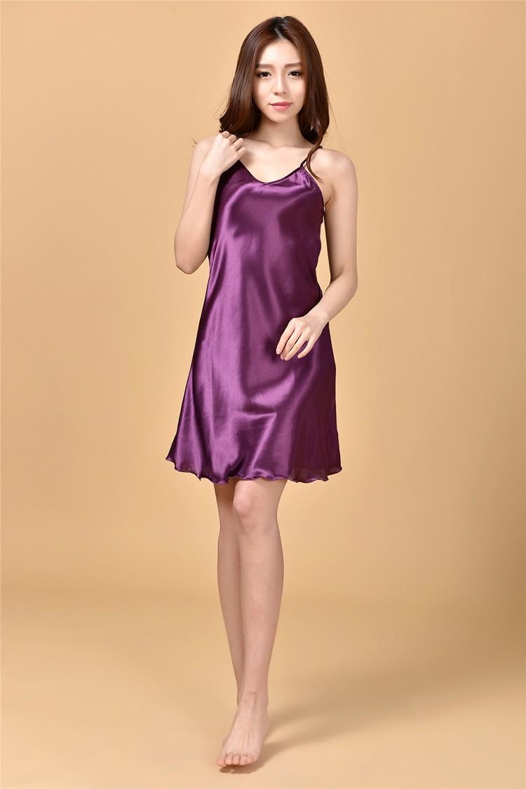 c108976d7f 2019 Wholesale Ladies Sexy Silk Satin Nightgown Sleeveless Nighties ...