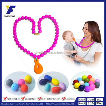 BPA free silicone mommy teething necklace baby safe jewelry
