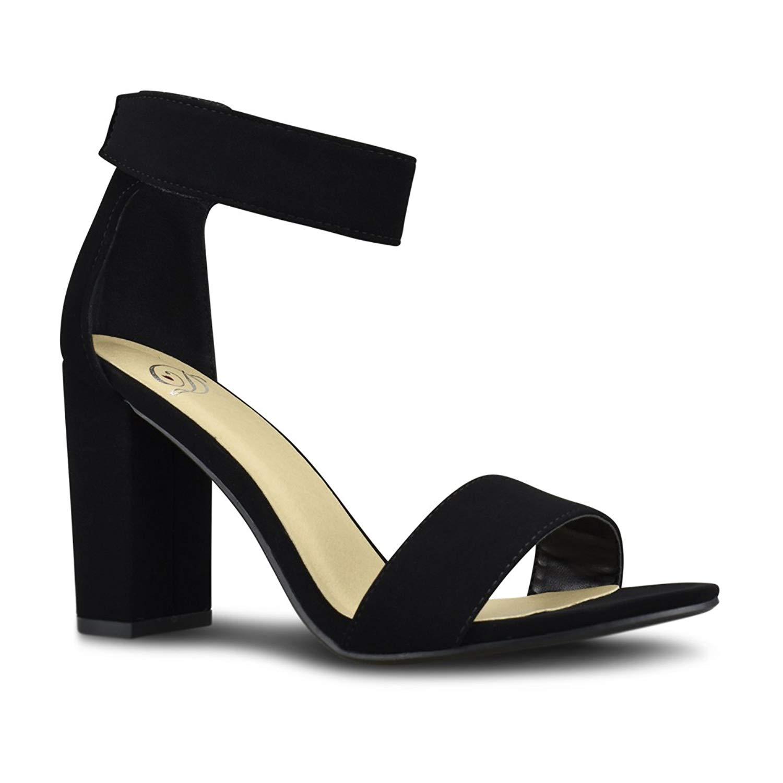 Premier Standard Women's Comfort High Heel Sandal - One Band Open Toe Ankle Strap Sexy Dress Chunky Block Heel
