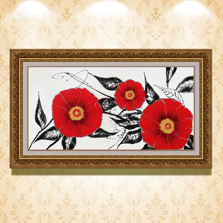 high quality new arrival canvas living room decoration flower framed oil painting