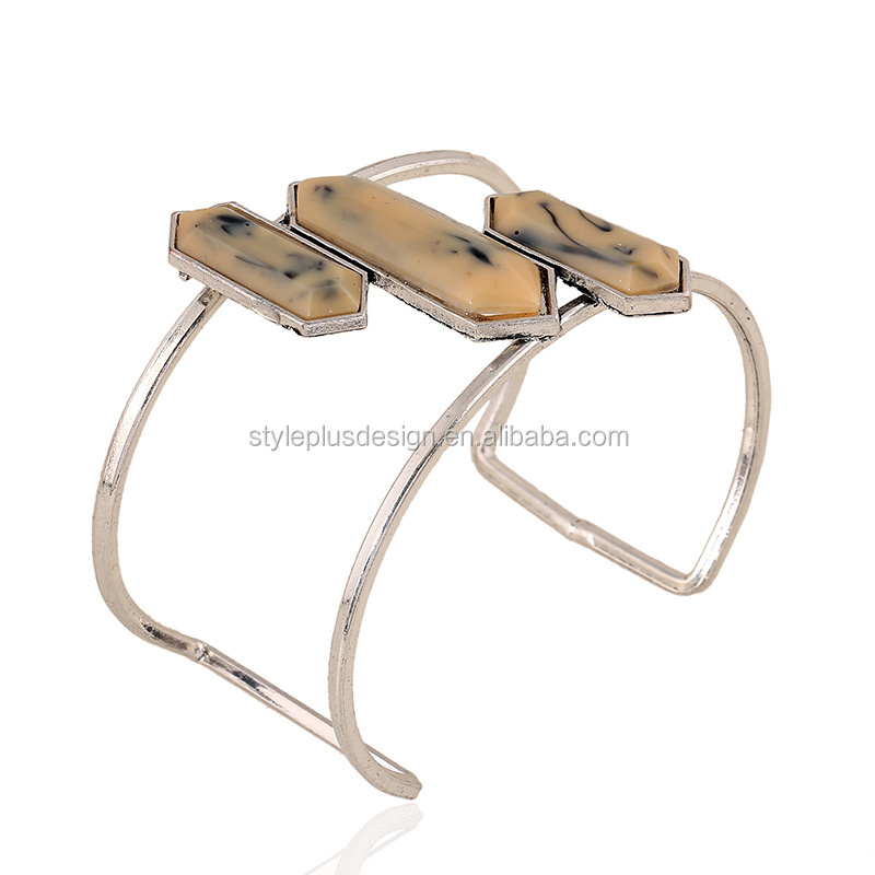 FC063 Simple rectangular bullet cuff bracelet 925 sterling silver resin stone veins jewelry bangles