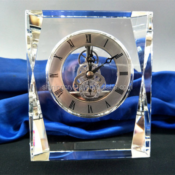 Superieur Crystal Skeleton Clock Glass Table Clock For Home Decoration