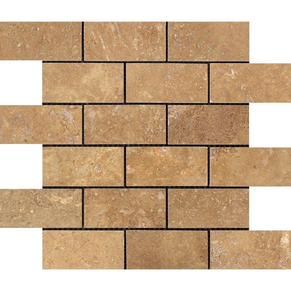 Honed Noce Travertine Brick Mosaic, 2 x 4