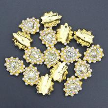 10 Pcs Glitter Gold Pearl 3D Water Drops AB Rhinestones For Nail Art Decorations Gel Polish