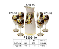 Drinking Cups With Hand Painted Flower Wholesale Glass Wine Gold ...