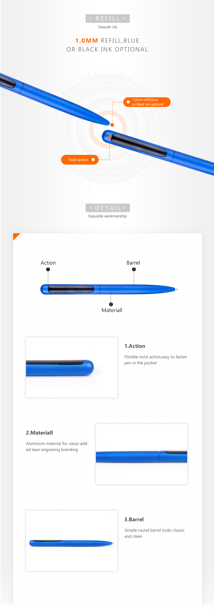 High quality twist mechanism metal ball point boligrafo pen with custom laser logo for business promotion
