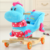 Animal plush wooden rocking horse with wheels