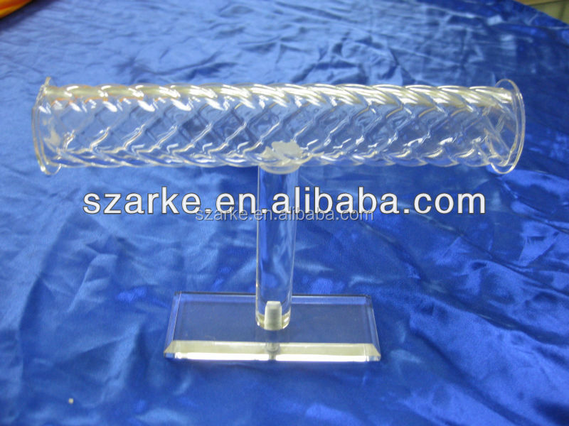 clear T bar acrylic jewelry bracelet/bangle/chains/watches hanging display stand with twist bar holder