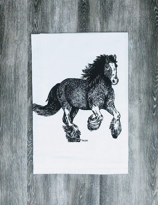 """Tea Towel - 26"""" x 25"""" - Flour Sack 100% Cotton Black Clydesdale Horse"""
