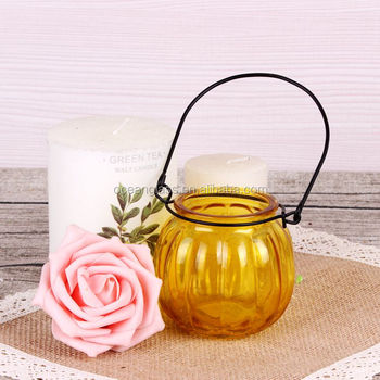 Bulk Hanging Votive Ball Candle Holders Wholesale Colored Glass Candle Jars  With Metal Handle