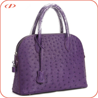 Luxury name brand real ostrich leather handbag
