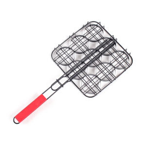 2019 hot sales Non stick 9 round hole Barbecue Basket Folding for Roast with color Handle