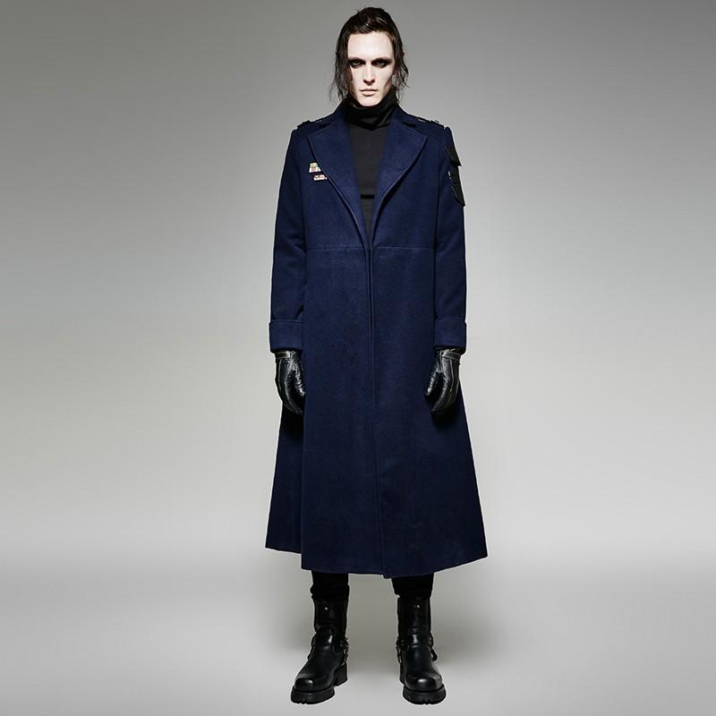 Y 697 Gothic Mannen Winter Militaire Uniform Stijl Grote Kraagvorm Lange Jas Buy Gothic Lange Winter Jas,Turn Down Kraag Lange Jas,Mannen Lange Jas