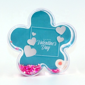 valentine's day flower shape photo frame pink hearts powder moving picture frames