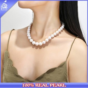 AAA 12-13mm Round White Pearl Necklace, Silver Finished Knot, Luxury Pearl Necklace