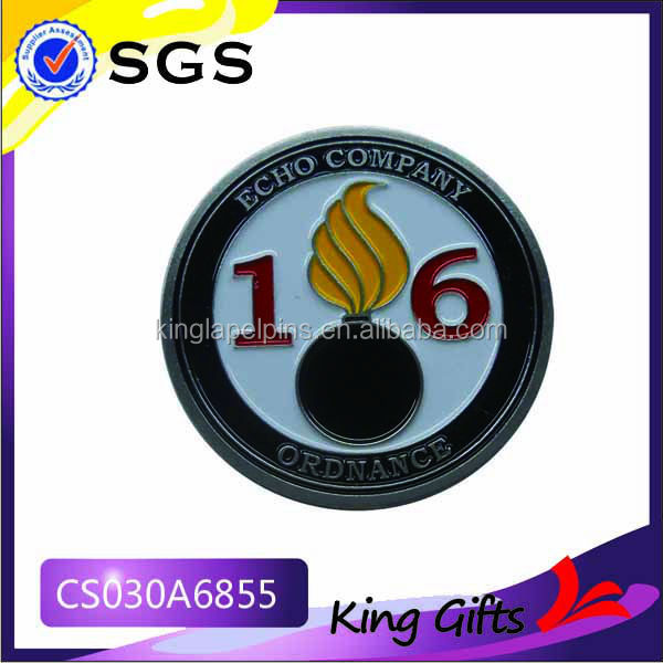 Soft enamel echo company silver challenge coin with numbers and flame logo