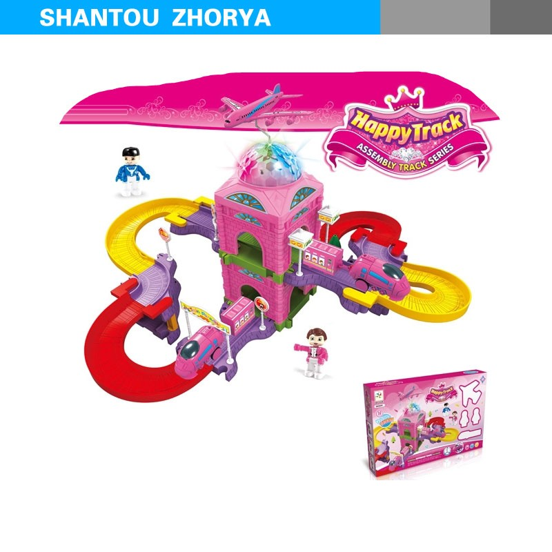 Zhorya super flexible plastic loop train track toy with light