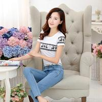 New design style lady fitted elegant printing top cotton short sleeve women korean t-shirts