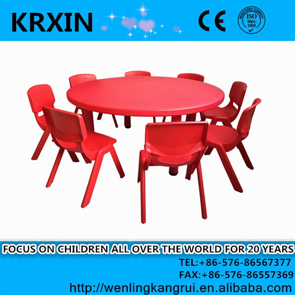 plastic kids round table red color blow mould table with 8 chairs