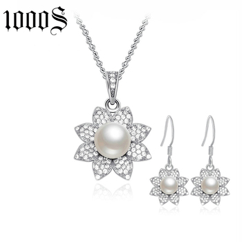 Customized design acceptable fashionable silver freshwater pearl jewelry set
