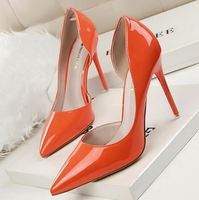 Wholesale cheap pointed women sexy PU ladies high heels shoes