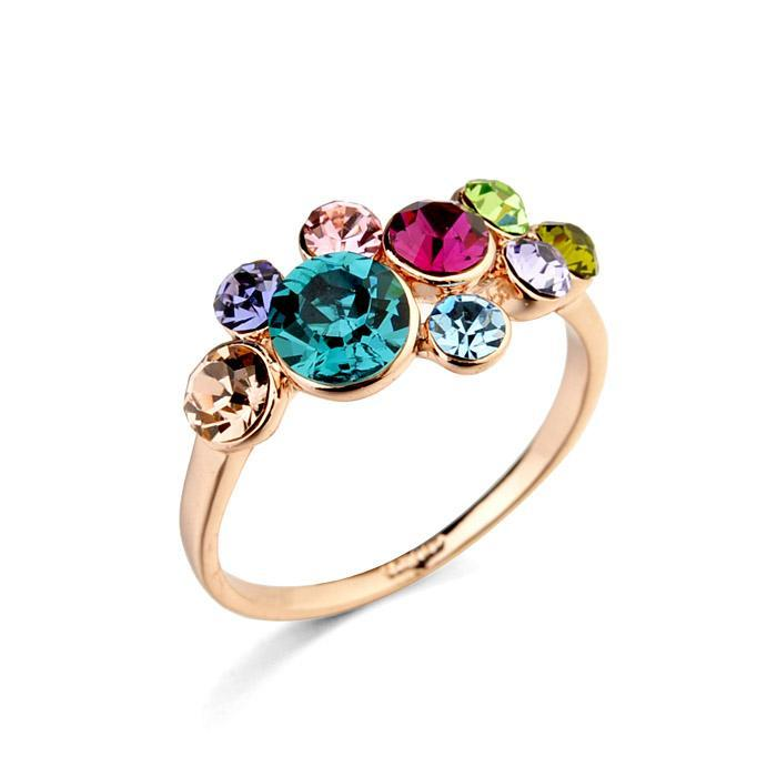 Real Italina Rigant Made with Swarovski Elements Crystal 18K gold Plated Rings for Women Enviromental Anti