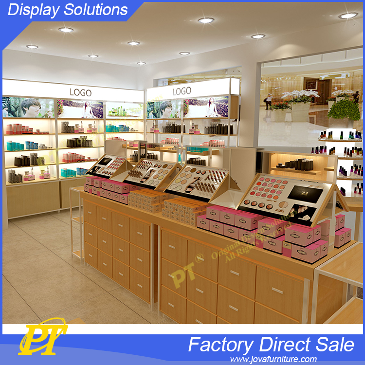 Model wood boat makeup stand display for cosmetic displays counter