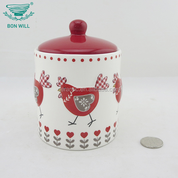 High quality food grade round shaper ceramic kitchen storage canister