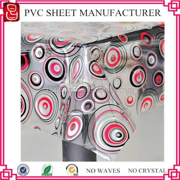 DOTP non-phthalate thin thickness clear pvc soft film with pattern tablecloth