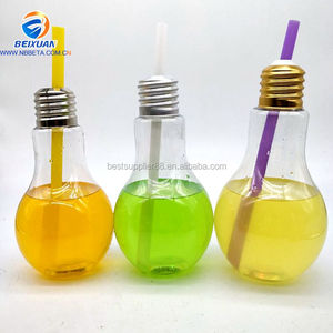 Hot Selling New Design Special Shape 400ml-800ml With Aluminium Screw Cap Plastic Drinking Juice Bottle LED Light Bulb Bottle