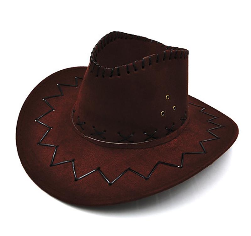 Unisex Cowboy Hat Suede Look Wild West Fancy Dress Mens Ladies Cowgirl Hats