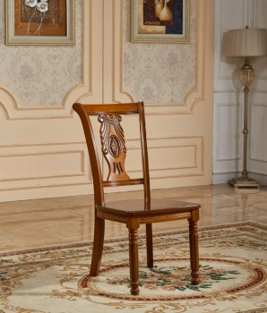 Simple Design Fabric Solid Wooden Dining Antique Hand Carved Wood Chair