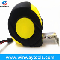 Rubber coated ABS steel measuring tape with Magnetic hook/Meteri scale with white printing Round lable tape ruler