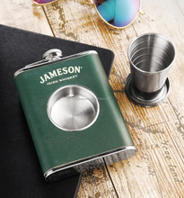 7oz Leather Wrapped Hip Flask With a Built-in Collapsible Shot Glass