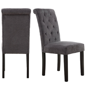 Fabric Button Tufted Backrest Ring Baroque High Back Dining Chair