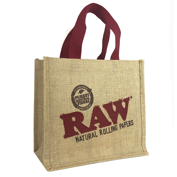 Wholesale cheap printed natural jute shopping bag,tote jute bag
