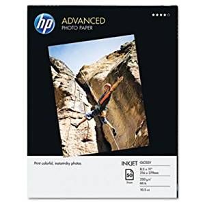 HP Photo Paper - Letter - 8.50quot; x 11quot; - 66 lb - Glossy - 50 / Pack - White
