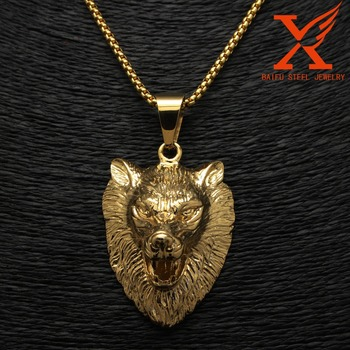 Casting 316l Stainless Steel Gold Biker Jewelry Large Wolf Head Mens
