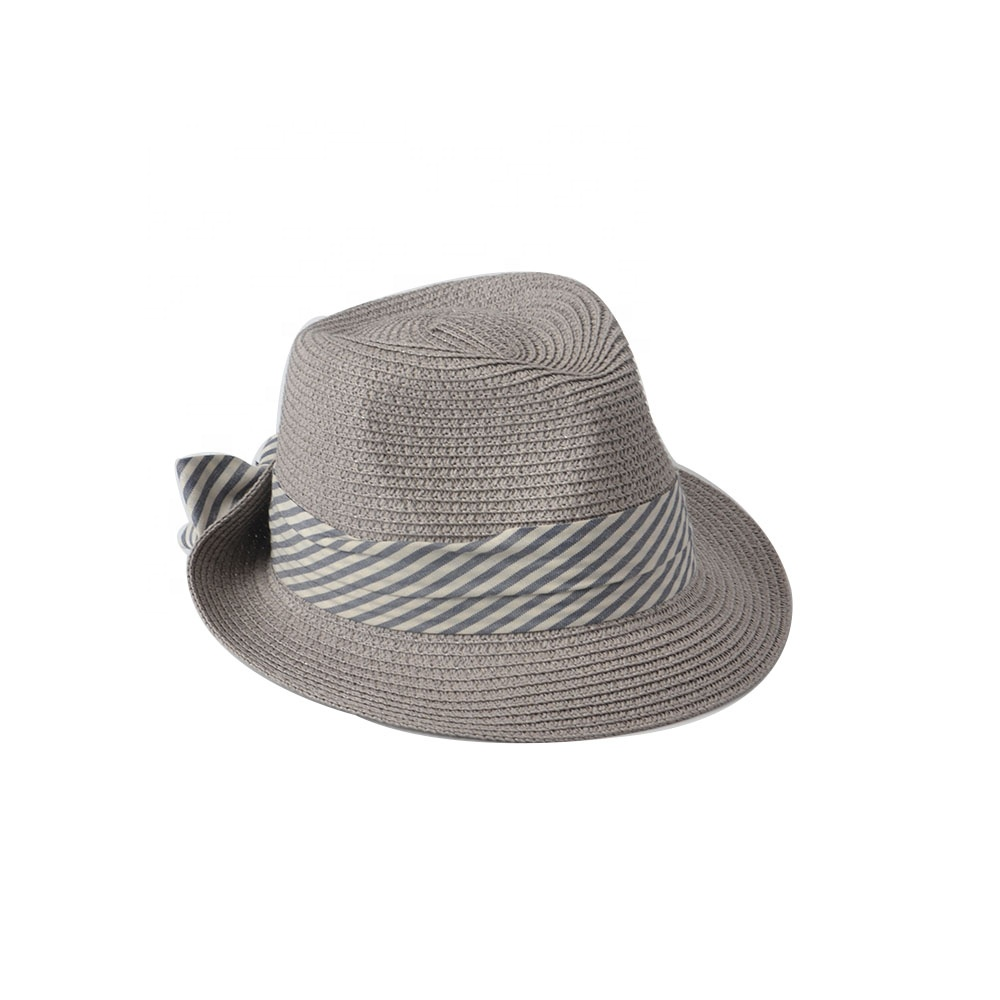 Stock Grey Color Fedora Summer Paper Straw Hat For Women
