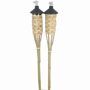 FD-18316Nature garden bamboo torch with weaving,black metal tank